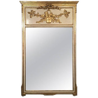 Early 1900s French Parcel-Gilt Trumeau Mirror For Sale