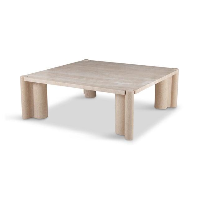Italian Gae Aulenti Jumbo Travertine Square Coffee Table For Sale - Image 3 of 9