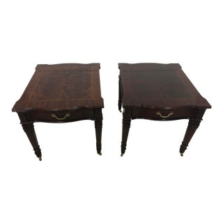 Vintage Hickory White Mahogany Side Tables - A Pair For Sale