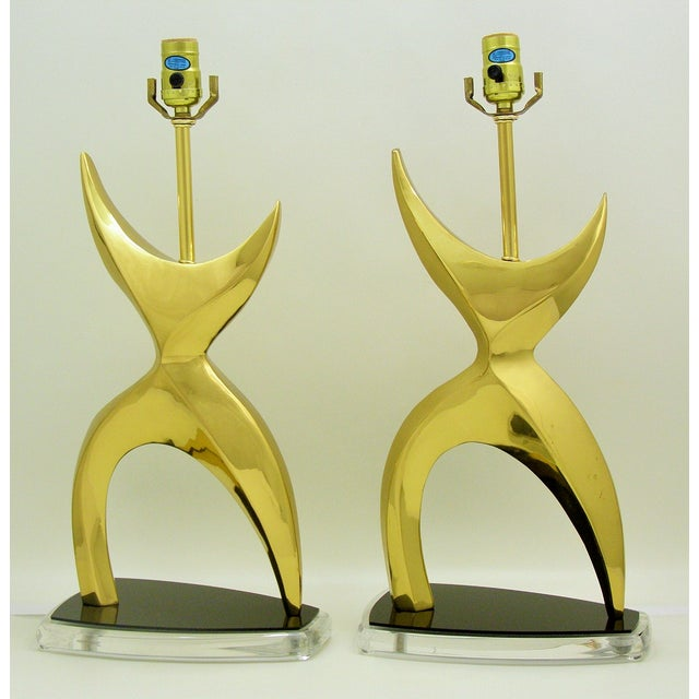 Mid-Century Modern Brass Black Lucite Abstract Figural Table Lamps Inspired by Phillipe Jean MCM - a Pair Millennial For Sale - Image 10 of 11