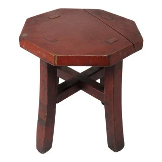 Antique Country Farm Primitive Wood Milking Stool For Sale