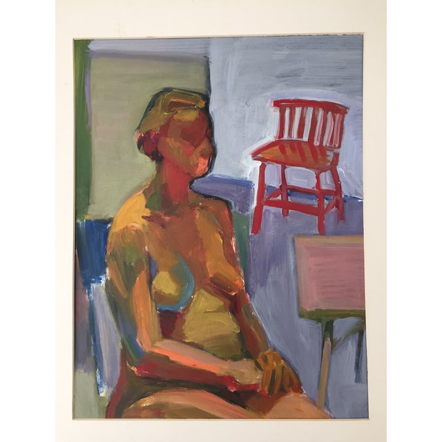 Original Abstract Painting of Seated Nude - Image 2 of 9