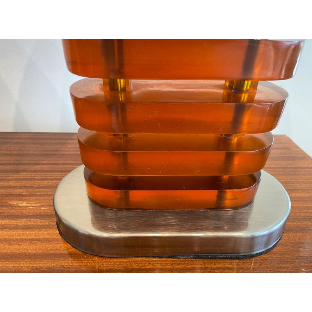 Orange Vintage Acrylic Lamps With Glass Shades, a Pair For Sale - Image 8 of 11
