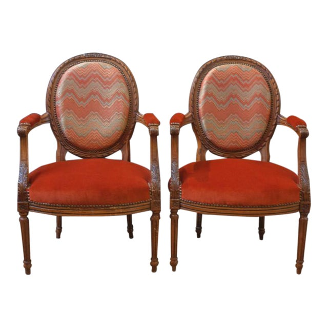 Pair of French Louis XVI Style Round Back Open Arm Chairs For Sale