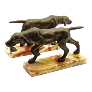 Bronze Dog Bookends, a Pair For Sale