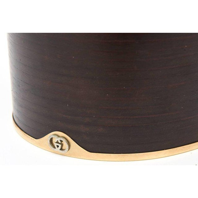 Gold Italian Signed Gucci Wood, Leather& Brass Rams Head Humidor Or Lidded Box/ SALE For Sale - Image 8 of 10