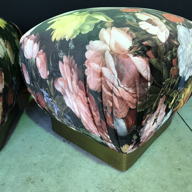 1990s Vintage Marge Carsen Brass Poufs- A Pair For Sale - Image 9 of 13