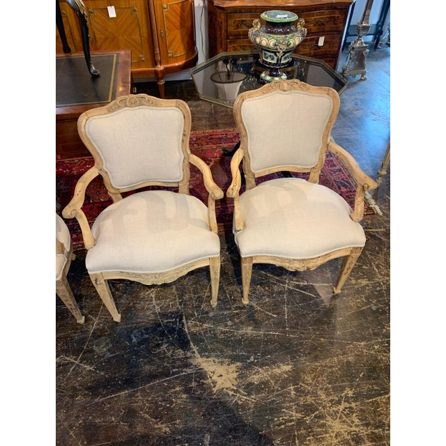 Set of 4 18th Century French Armchairs Made of Bleached Walnut For Sale - Image 9 of 10