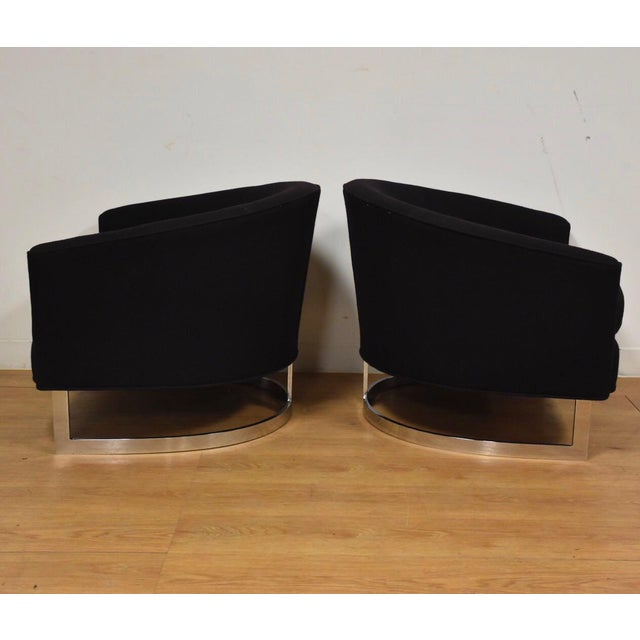Black & Chrome Barrel Back Lounge Chairs- a Pair For Sale - Image 4 of 11
