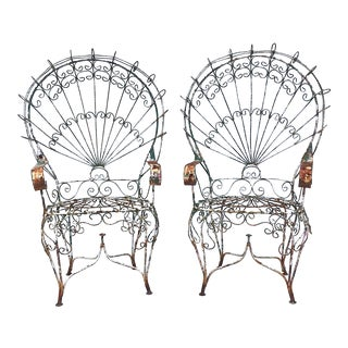 1950s Vintage Wrought Iron Wire Peacock Chairs - a Pair For Sale
