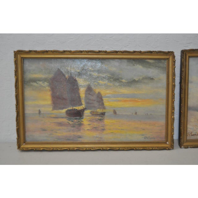 Canvas Early 20th Century Maritime Paintings by Thomas G. Purvis - a Pair For Sale - Image 7 of 8
