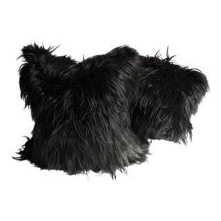 Black Mongolian Lamb Fur Pillows - A Pair