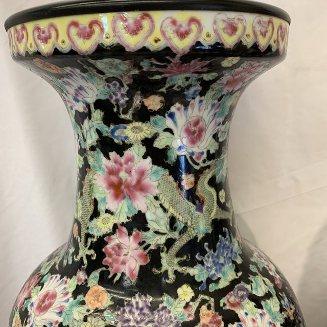 Large Antique Qing Daoguang Chinese Vase Lamps - a Pair For Sale In Richmond - Image 6 of 13