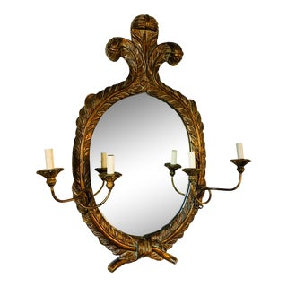 Vintage John Richard Carved and Gilt Oval Mirror With Double Sconces For Sale