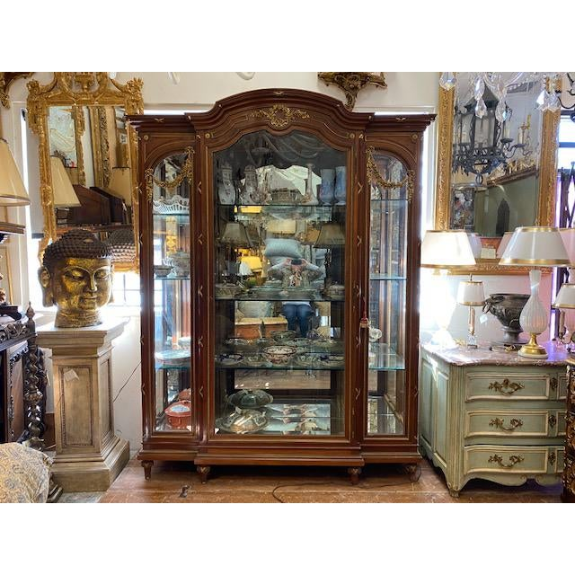 19th Century French Brozne Walnut and Bronze China Cabinet For Sale - Image 12 of 13