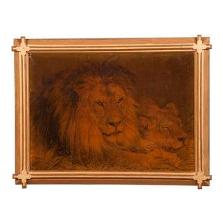 1930s Gilded Framed Oil Painting of Lion For Sale