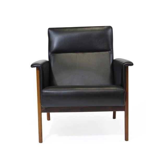 Black Rosewood and Black Leather Lounge Chair For Sale - Image 8 of 12