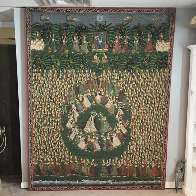 """Islamic 19th C. East Indian """"Pichwai"""" Painted Textile of Krishna For Sale - Image 3 of 11"""