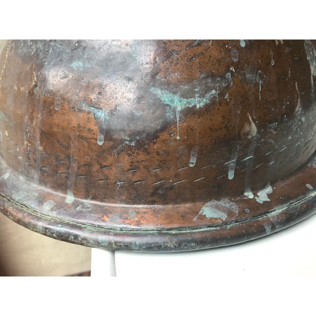 French Country Large Handmade Copper Pedestal Bowl For Sale - Image 3 of 7