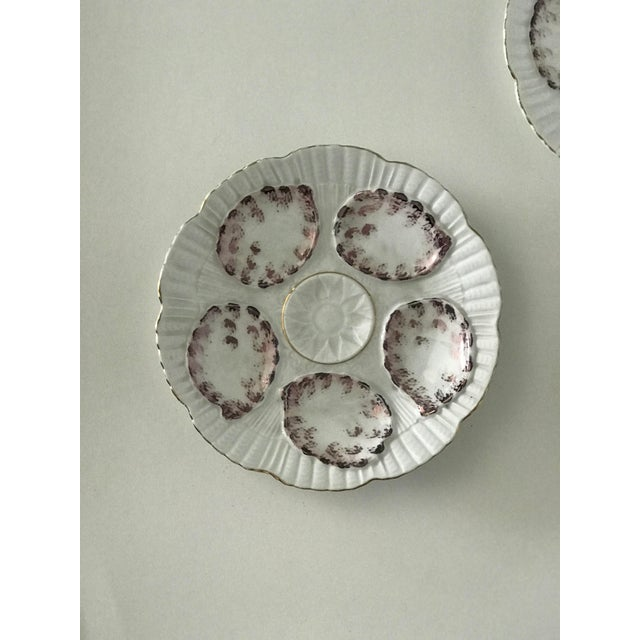 Vintage Gray and White Oyster Plates - Set of 4 For Sale - Image 4 of 7