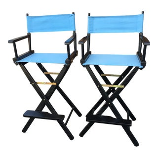 Modern High Perch Fold-Up Directors Chairs- a Pair For Sale
