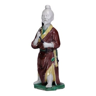 Early 20th Century Chinese Qing Dynasty Glazed Porcelain Figure For Sale