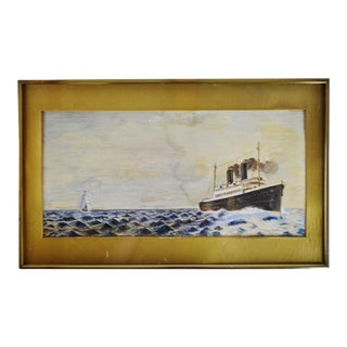 Vintage Framed Pastel Drawing Nautical Ship Seascape Art - Signed