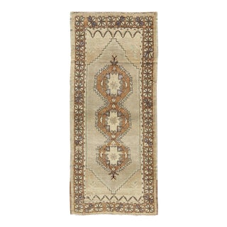 Vintage Turkish Oushak Rug With Multi-Layered Diamonds in Taupe, Gray, and Blue For Sale
