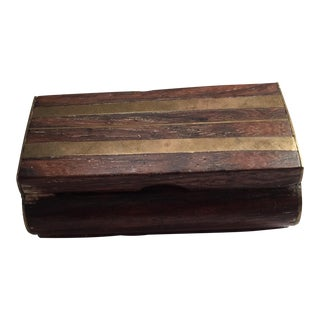 Vtg MCM Charming Boho Wood Brass Trinket Box For Sale