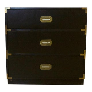 Black Lacquered Three Drawer Campaign Chest For Sale