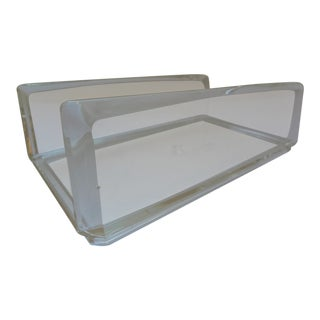20th Century Contemporary Clear Lucite Guest Towel or Napkin Holder For Sale