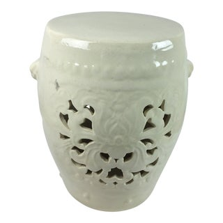 Vintage White Pierced Asian Garden Seat Stool For Sale