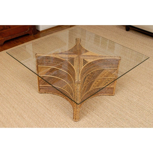 Elegant Vintage Bamboo Coffee Table For Sale - Image 4 of 11