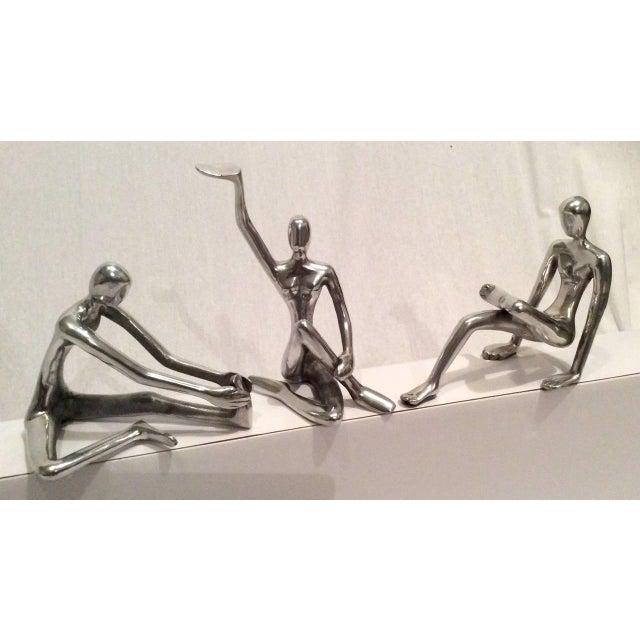 Modernist Polished Steel Sculptures - Set of 3 - Image 3 of 10