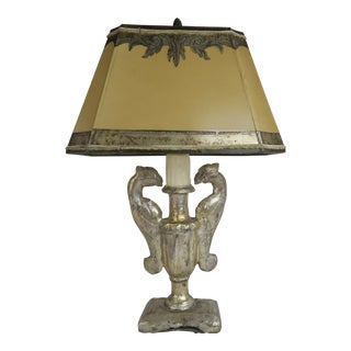 19th C. Silver Gilt Lamp With Hand Painted Shade