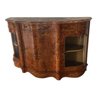 Marquetry Chest With Marble Top For Sale
