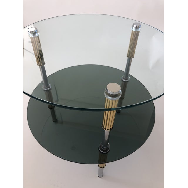 Mid-Century Modern Mid Century 2-Tiered Glass, Brass, and Stainless Steel Side Table For Sale - Image 3 of 6
