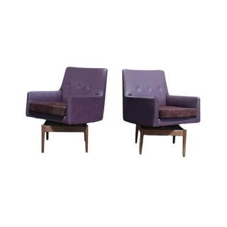 Vintage Jens Risom Walnut Swivel Lounge Chairs - A Pair