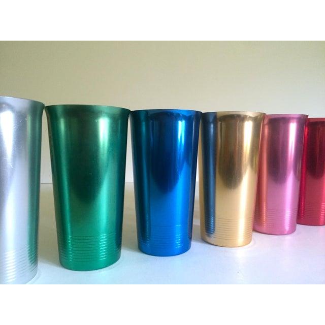 Vintage Mid Century Modern Rare Anodized Spun Aluminum Multicolor Beverage Set - 7Pc For Sale - Image 9 of 12