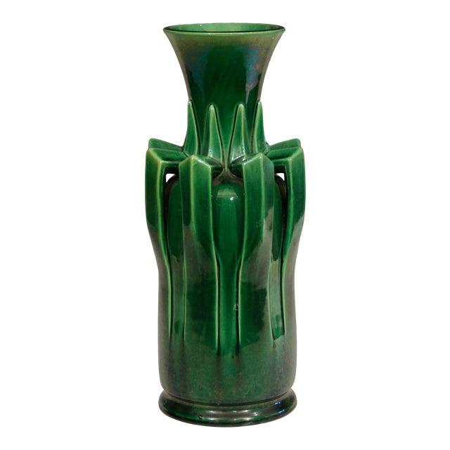 1910s Awaji Pottery Organic Arts & Crafts Petal Handle Green Monochrome Vase For Sale