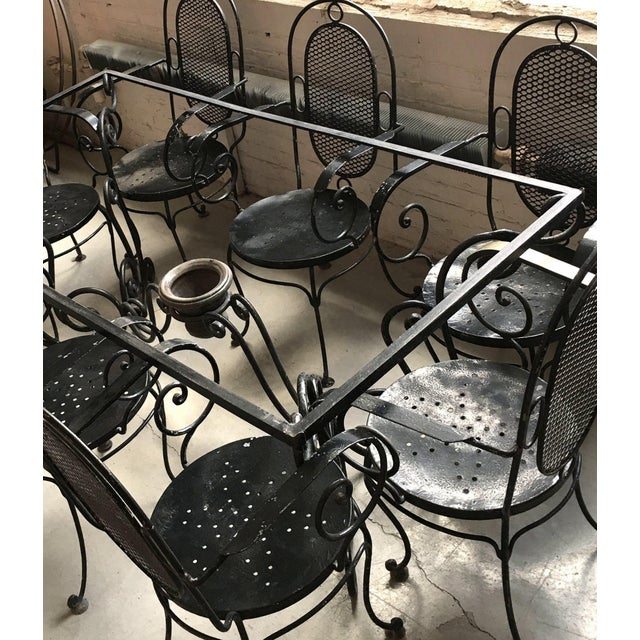 Ceramic 1900s Art Nouveau Indoor and Outdoor Iron Dining Set - 9 Pieces For Sale - Image 7 of 11