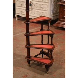 20th Century English Carved Walnut and Leather Spiral Step Library Ladder Preview
