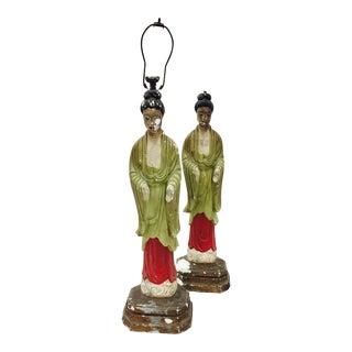 Antique Asian Plaster Lamps - A Pair