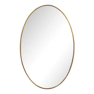 Sarreid Ltd. Antique Brass Royds Oval Mirror IV For Sale