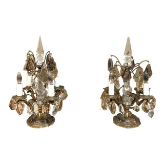 Pair Mid Century Brass & Crystal Neoclassical Girandoles ~ Sconces For Sale