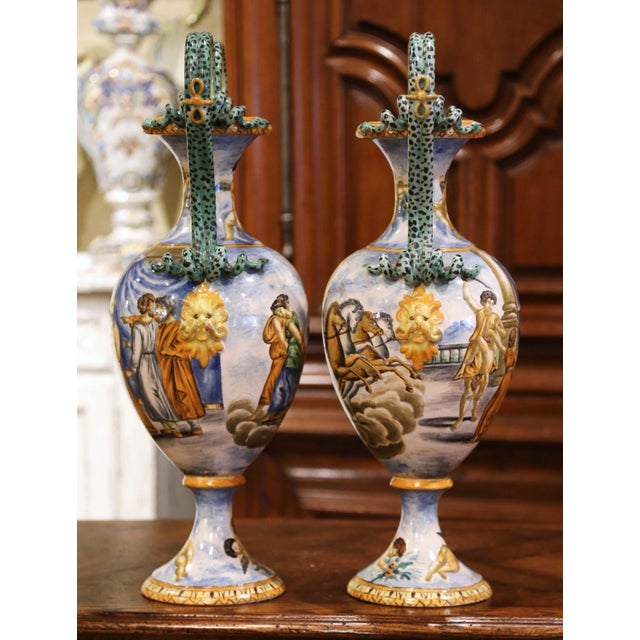Mustard 19th Century Italian Classical Painted Majolica Vases With Roman Scenes - a Pair For Sale - Image 8 of 13