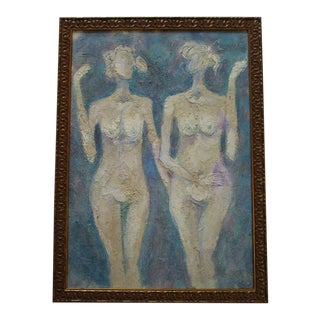 Soucie Signed Painting Vintage Blue Nude Abstract Expressionism Modernism 1970's For Sale