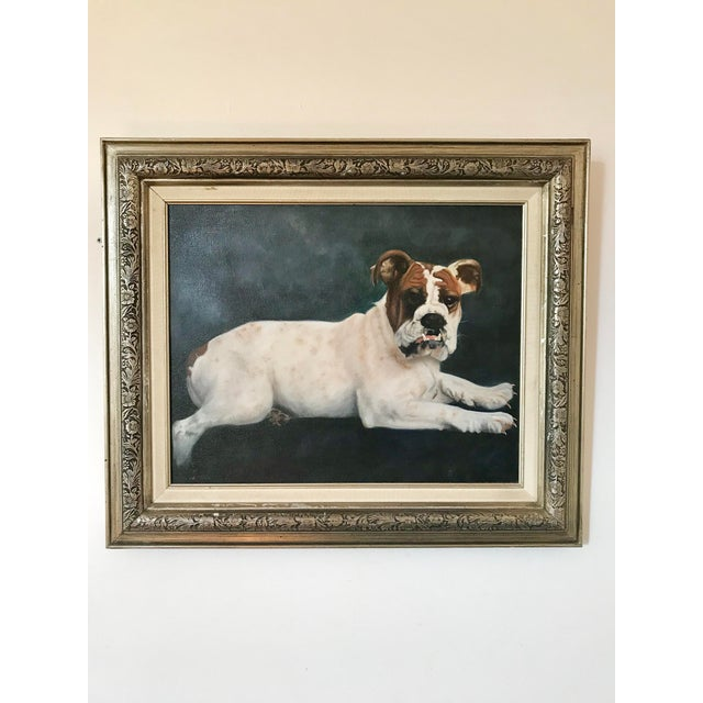 "Paint 2000s Portraiture Framed Oil Painting, ""Bulldog Portrait"" For Sale - Image 7 of 7"