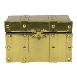 Sarreid Style Miniature Tabletop Brass Trunk For Sale