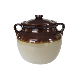 Antique Western Stoneware Brown and White Glazed Crock Stoneware Jug With Double Handles and Lid For Sale